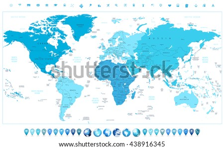 World map continents in colors of blue and glossy globes with map pointers - stock vector