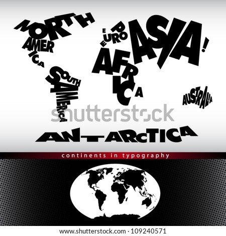 World map continents typography with handdrawn stock vector hd world map continents in typography with hand drawn globe in the bottom gumiabroncs Image collections