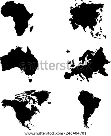 World Map 6 continents Vector on white background