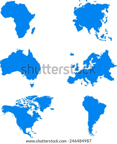 World Map 6 Continents Vector On Stock Vector 246484987 Shutterstock