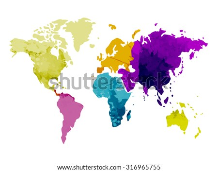 World map continents watercolor background vector illustration - stock vector