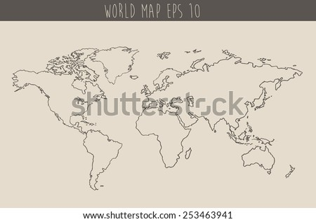 World map contour vector illustration, hand drawn, sketch - stock vector