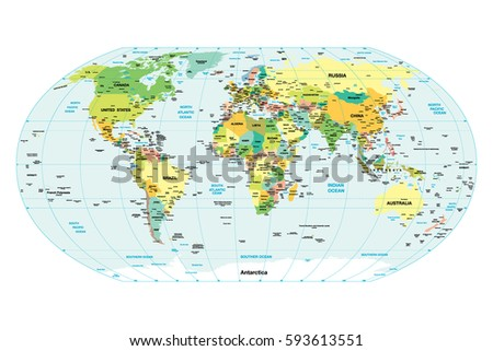 World map countries cities detailed map stock vector 593613551 world map countries and cities detailed map of the world gumiabroncs Gallery