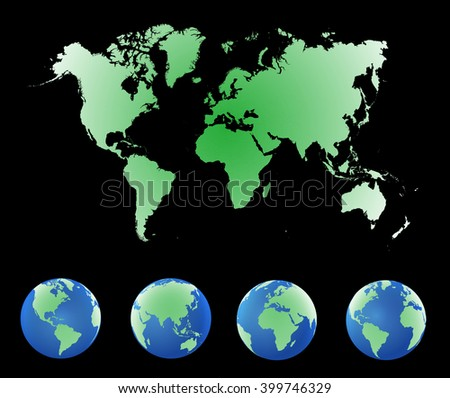 World map countries colorful. Vector illustration.