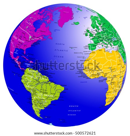 World Map Countries Globe Planet Earth With Colored Continents Atlantic Ocean Vector Isolated