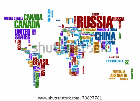 World map: countries in color wordcloud - stock vector