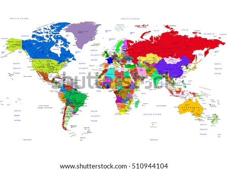 World Map Countries Vector Illustration Names Stock Vector