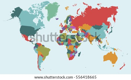 World map-countries vector on blue background.