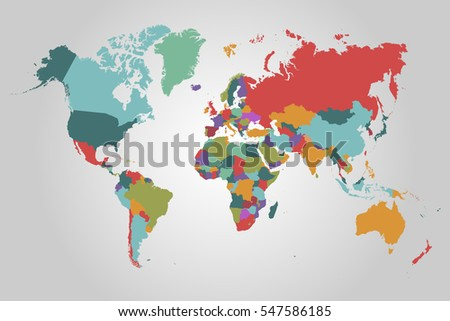 World map-countries vector on gray background.