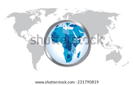 World map countries with Africa magnified by loupe - stock vector