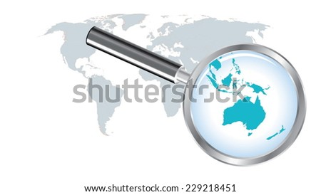 World map countries with Australia magnified by loupe - stock vector