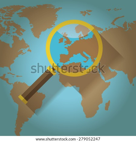 World map countries europe magnifying glass stock vector hd royalty world map countries with europe magnifying glass gumiabroncs Choice Image
