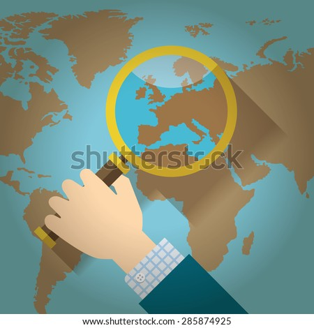 World Map Countries Europe Magnifying Glass Stock Vector - Earth map countries
