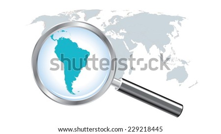 World map countries with South America magnified by loupe - stock vector