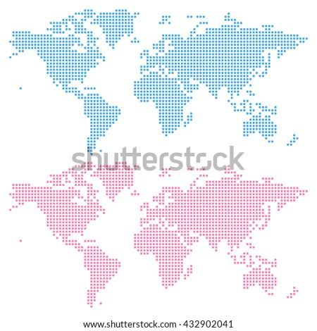World map created from circles (upper) and squares (lower), not a pattern. Edit colors easy in one click. - stock vector