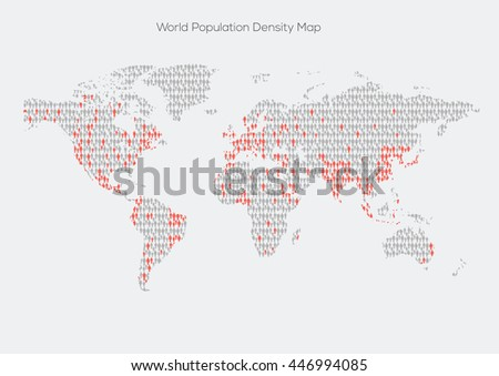 World map density made out of of people silhouette. Vector illustration - stock vector
