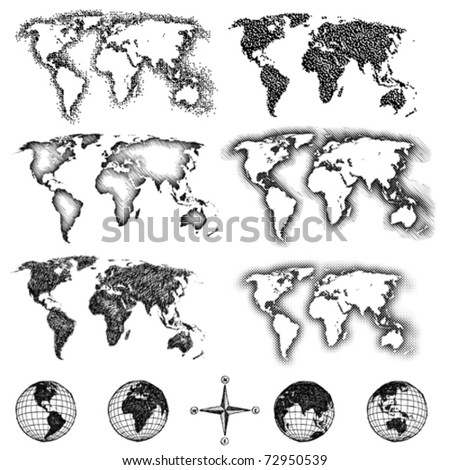 World map design elements. Pixels, lines, doodle & halftone. Four views of the sketch globe and compass available also. - stock vector