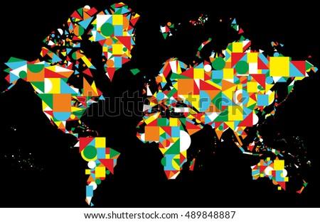 World map design on black background stock vector 489848887 world map design on the black background gumiabroncs Images