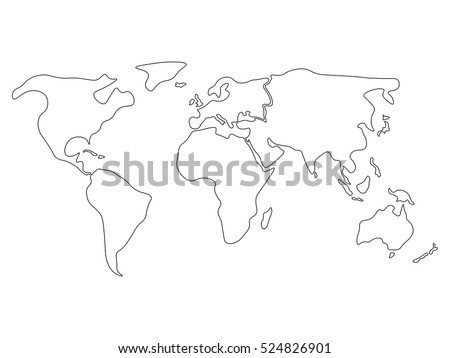 World Map Divided To Six Continents In Black North America South America Africa