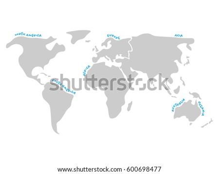 World map divided six continents dark stock vector royalty free world map divided to six continents in dark grey north america south america gumiabroncs Choice Image