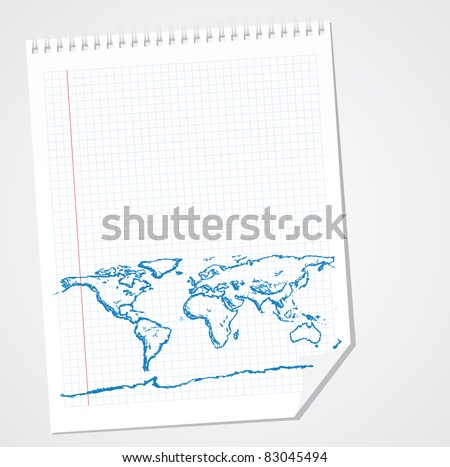 World Map Doodle Vector