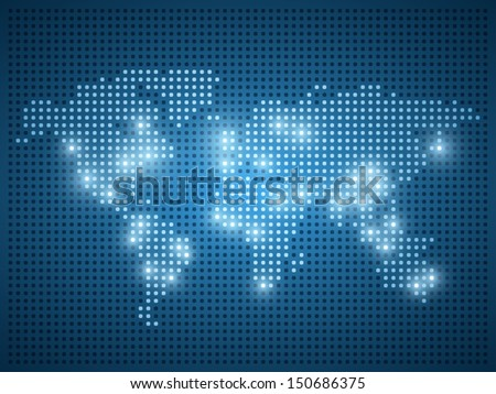 World map dot illustration on blue background. - stock vector