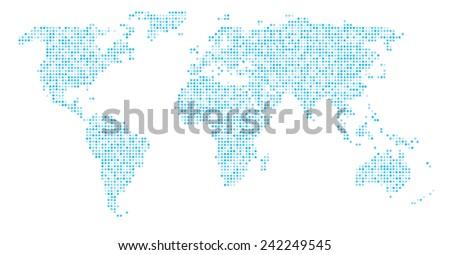 World Map Dots - Blue Cyan dots  - stock vector