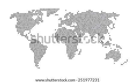 World Map - Dots Matrix Gray - stock vector