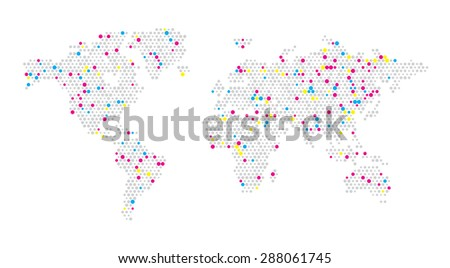World map dots random size - stock vector