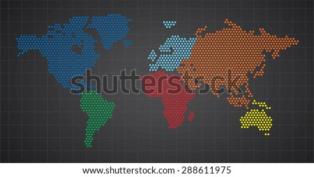 World map dots rounded - stock vector