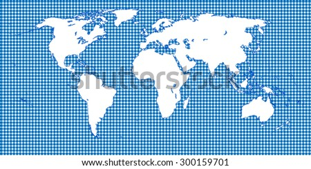 World Map Dotted Blue 1 Big Dots - stock vector
