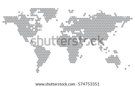 World map dotted grey hexagons minimal stock vector 574753351 world map dotted in grey hexagons minimal white grey clean look background for info graphics gumiabroncs Gallery