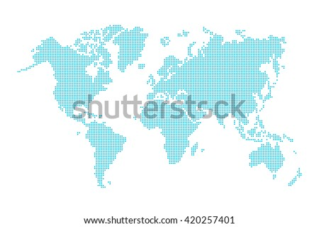 World map ( dotted style )  - stock vector