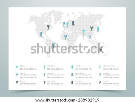 World Map Dotted Vector With Markers  - stock vector