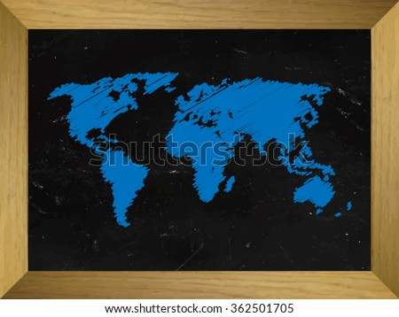World Map Draw on a Chalkboard - stock vector