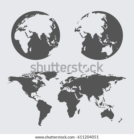 World map earth globes icon flat stock vector 611204051 shutterstock world map earth globes icon flat web sign symbol logo label gumiabroncs Images