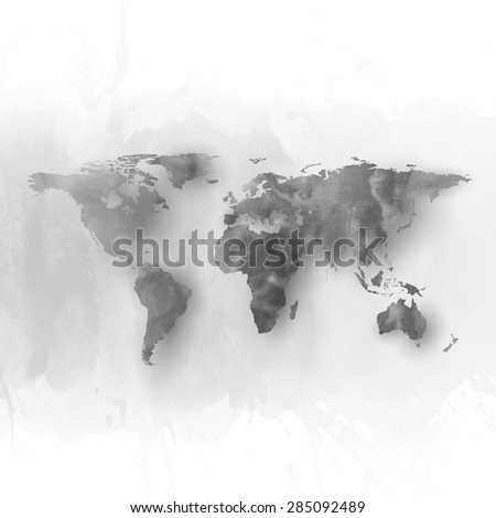 World map element, abstract hand drawn watercolor gray background, great composition for your design, vector illustration. - stock vector