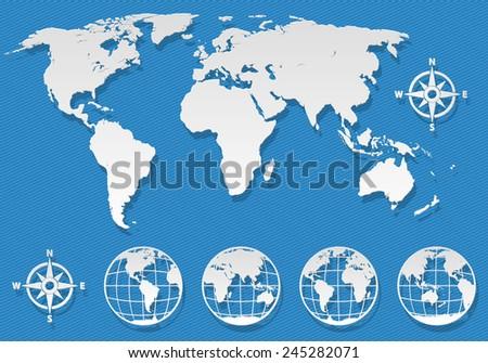 World map elements set - stock vector