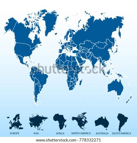 World map europe asia america africa stock vector 1009041877 world map europe asia america africa australia gumiabroncs Choice Image