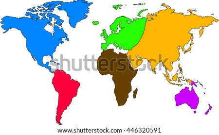 World map europe asia north america vectores en stock 446320591 world map europe asia north america south america africa australia gumiabroncs Gallery