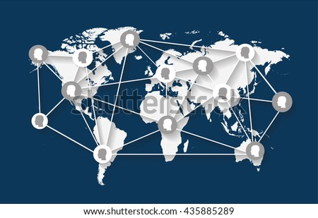 World map flat blue with human heads