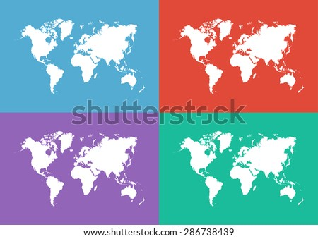 World map ( Flat design ) - stock vector
