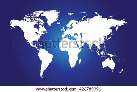 world map flat white color with blue background