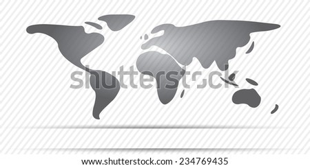 World Map freehand continents gray color - stock vector