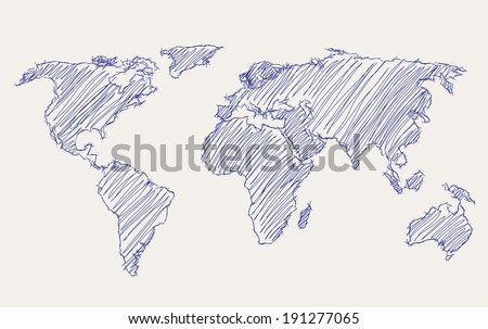 world map freehand drawing - stock vector