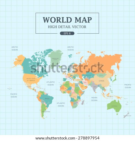 World map full color high detail stock photo photo vector world map full color high detail separated all countries vector illustration gumiabroncs Image collections