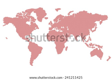 world map full expand 19330 rounded square pixels - stock vector