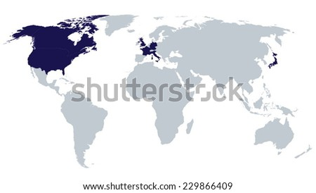 World Map G7 Countries EPS8 Vector - stock vector