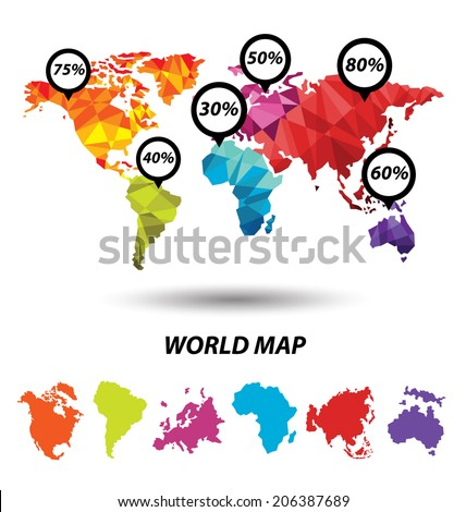 World Map geometric concept design - stock vector