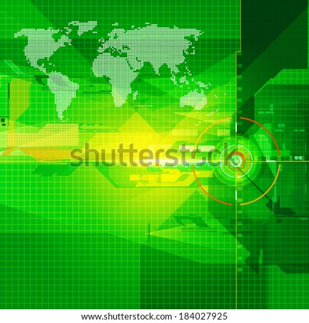 World map geometric green colour backgroud